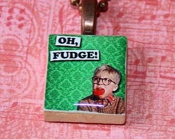 Oh Fudge Scrabble Tile Necklace - Christmas - Resin Pendant