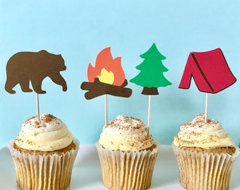 Camping Party Cupcake Toppers - Camp Party Decor - Woodlands Party Decor - Happy Camper Party Decor - Lumberjack Party Decor - Hunting Party