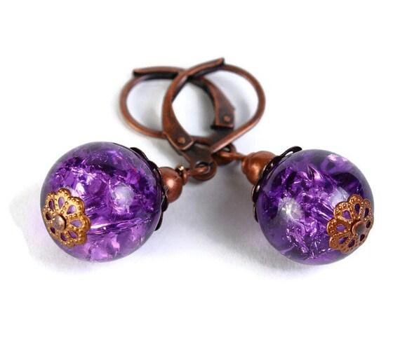 Purple plum violet crackle glass antique copper leverback earrings (385)