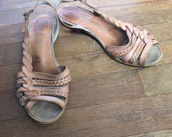 vintage 80s coasters 2684 womens strappy leather sandals made in brazil womens shoe size 8