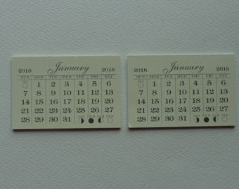 """Two mini 2018 monthly tear off calendar pad good quality 2"""" X 3"""" off white and last page is cardstock"""