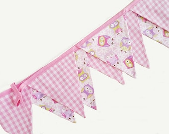 Woodland Nursery Bunting, Fabric Bunting Banner Flags. 13 flags 2.5m/8' pink owl nursery bunting flags for nursery decor or baby shower gift