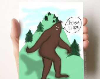 Bigfoot Card, Encouragement Cards, Funny Cards, Congrats Cards, Congratulations Cards, Just Because Card, Bigfoot, Encouragement Gift