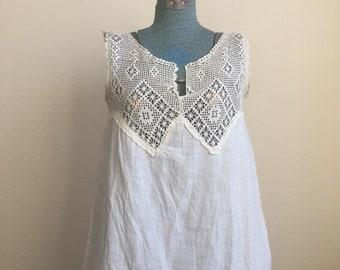 Antique Edwardian early 1900s yolk crochet camisole blouse