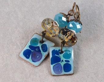Deep Ocean Blues, Copper Enameled, Bohemian Chic Earrings, Gypsy Hippie Earrings, Boho Jewelry, Champagne Blue Earrings, Dangle Earrings