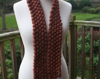 long skinny scarf . Hand knit