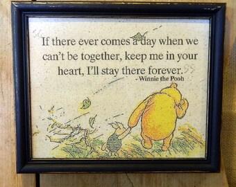 Best friend Gift Winnie the Pooh Art Winnie the Pooh Quote Winnie the Pooh Print If there ever comes a day Best Friend Goodbye Gift
