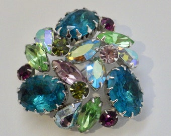 Signed Vintage Regency Dome Brooch in Blues, Greens and Purples