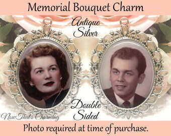 SALE! Memorial Bouquet Charm - Double-Sided - Personalized with Photo - Antique Bronze or Silver - Gift for the Bride- Cyber Monday