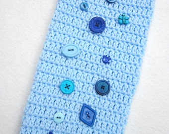 Crochet Plastic Bag Holder Blue with a Variety of Blue Buttons, Light Blue Walmart Bag Container, Recycle Storage, Baby Boy Nursery Decor