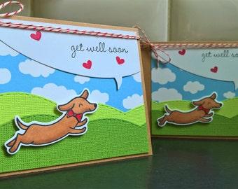 Get Well Card, Feel Better Soon Card, Dog Lover, Dachshund Card, Doxie Card, Weiner Dog Card, Dachshund Get Well Card