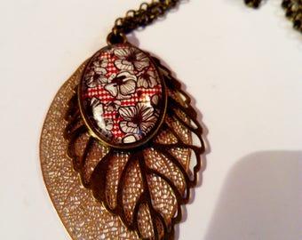 Bronze poppy flower chain necklace ethnic original vintage