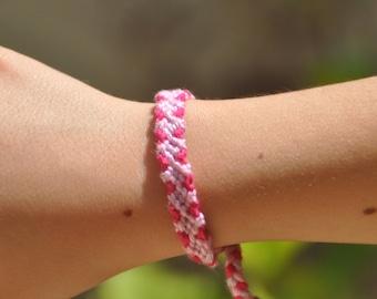 woven friendship bracelet / indian bracelet / hippie bracelet / gift / handmade / knotted bracelet - Small Diamond Bracelet (pink)