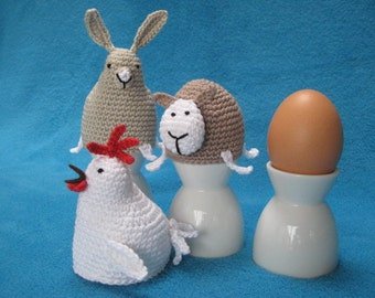 Egg Cosy Chicken Bunny Sheep Easter Spring Crochet Pattern PDF