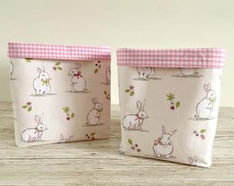 Bunny Rabbit Fabric Storage Baskets, Fabric Bins, Nursery Storage, New Baby Gift, Baby Shower Gift, Kids Storage Bins, Kids Decor, New Baby