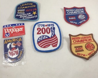 vintage bowling patches, patches, vintage bowling, bowling, bowling collectibles, lot of 5