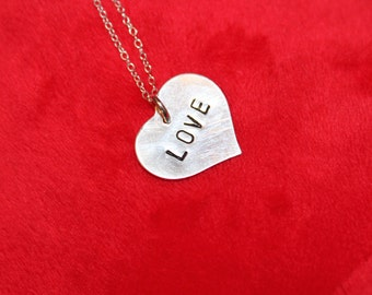 Handstamped Sterling silver jewelry, Heart with LOVE, Valentine Heart Necklace, Valentine's Day Gift