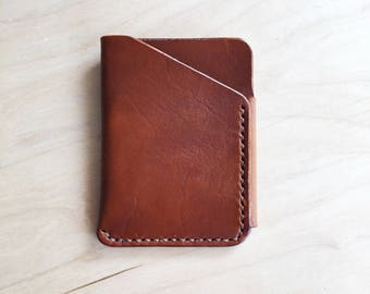 Leather Card Wallet in Brown with Brown Thread