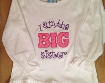 Pink and Purple Big Sister Shirt or Baby Bodysuit