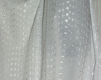 """Fabric White Embroidered Eyelet Sheer Polyester  and Cotton 50"""" Wide  By the yard"""