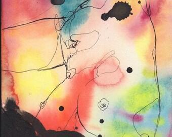 Aura #1- Original ink & watercolor drawing