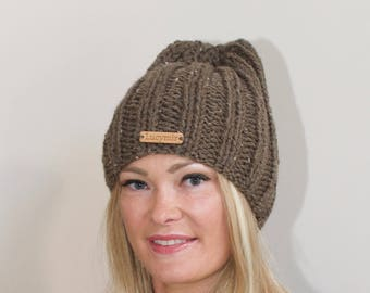 Slouchy Beanie Women Hat Chunky Slouchy Hat Knitted Women Hat Winter Hat CHOOSE COLORS Birch Brown Chunky Hand Knit Christmas Gift under 50