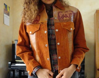 SALE Leather Mexico Jacket Suede Brown Tooled Leather Vintage 70s S M
