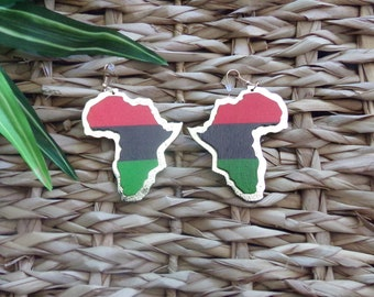 Africa Continent Earrings | Africa Shaped Earrings | Red Black Green Gold |  RBG