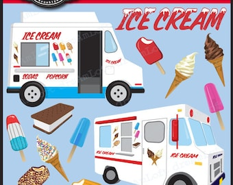 Ice Cream Truck Clip Art for Personal and Commercial Use