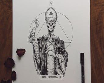 Original Ink Drawing Inktober 2017: Tarot Card The Hierophant