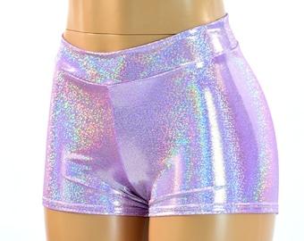 Midrise Lilac Purple Holographic Metallic Spandex Mid Rise Booty Shorts   150573