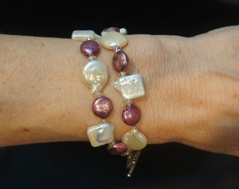 Bracelet Double Strand Pretty White & Purple