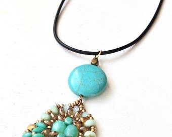 Turquoise boho chic pendant necklace, turquoise southwestern necklace, leather strand necklace, handmade pendant