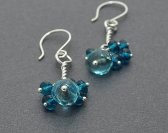 Twisted Earrings, Sterling Silver Cluster Earrings, Czech Glass, Blue Earrings, Blue Crystal, Dangle Cluster