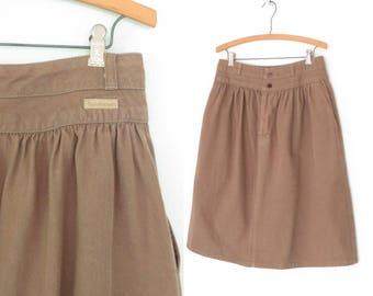 vintage jean skirt * 80s skirt * earthtone denim skirt * vintage calvin klein * large
