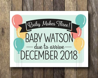 Pregnancy Reveal Card - Printable Pregnancy Announcement - Baby Makes Three