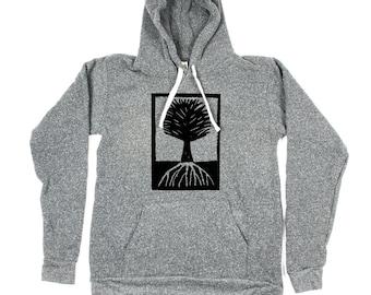 Men Tree Hoody - Grey Tree Hoodie - Tree illustration - Tree Art - Small, Medium, Large, XL