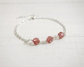 Chain bracelet pink bead bracelet sparkly bracelet minimalist layering bracelet for women