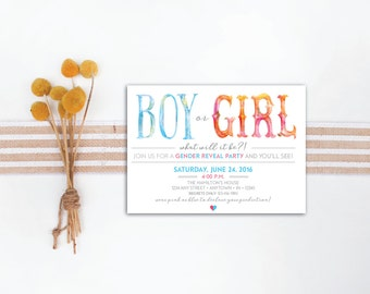 INSTANT DOWNLOAD gender reveal party invitation / whimsical gender reveal / gender reveal party / blue or pink / he or she what will it be