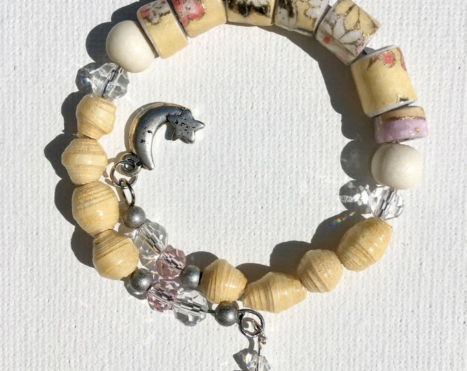 Lemon Meringue Blush Paper Bead Bracelet