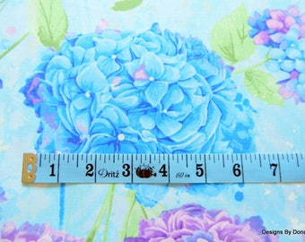 "One Fat Quarter Cut Quilt Fabric, Lavender & Blue Hydrangea, ""Harmony"" by CHONG-A HWANG for Timeless Treasures, Sewing-Craft Supplies"