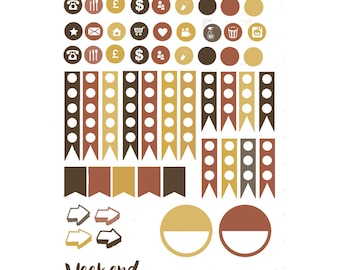 Watercolour Autumn Planner Stickers 003