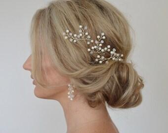 Wedding Hair Pins, Bridal Hair Accessories, Bridal Hair Clips, Pearl Crystal Hair Pins, Formal Hair Pins, Wedding Hair Clips, Set of 3