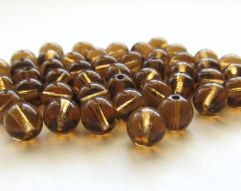 Smooth Smoky Topaz Brown Round Czech Glass Druk Beads, 6mm - 50 pieces