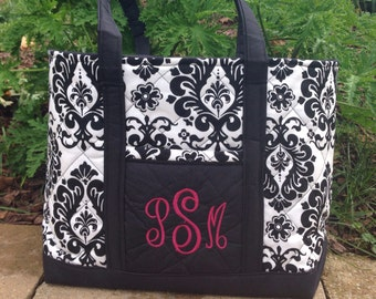 Monogrammed black and white damask tote bag