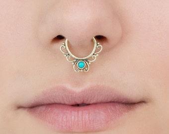 Fake septum ring. septum cuff. turquoise septum ring. tribal septum. faux septum.