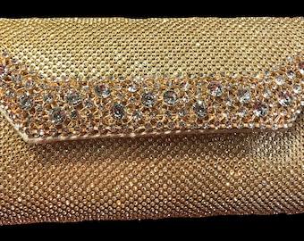 New Gold Rhinestone  Flap  Evening Clutch Handbag