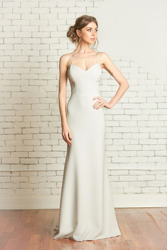 Matte Crepe Fitted Wedding Gown with Deep Sweetheart Bodice