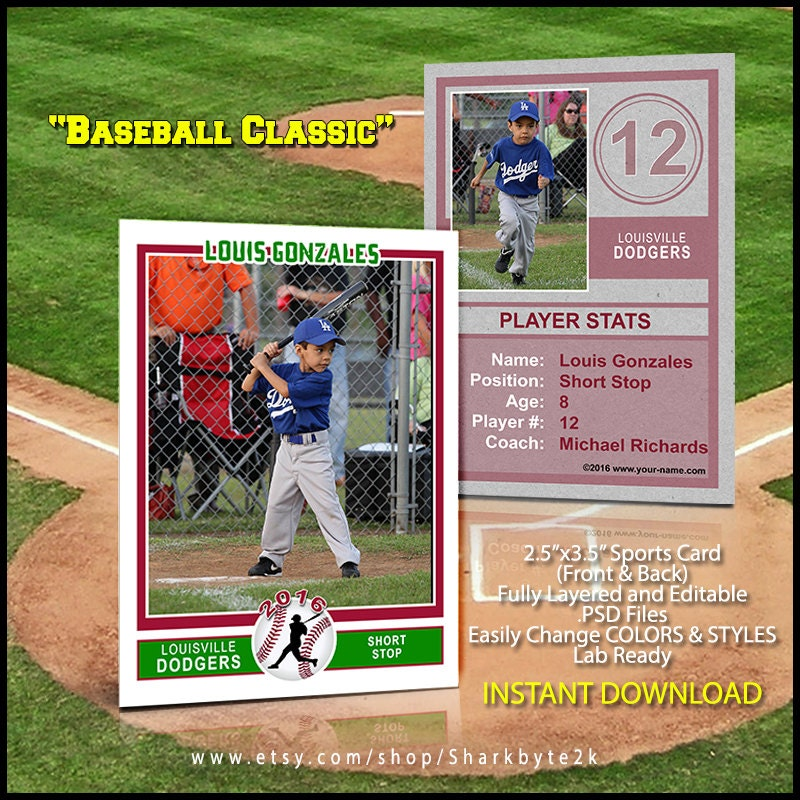 baseball sports trader card template for photoshop baseball. Black Bedroom Furniture Sets. Home Design Ideas