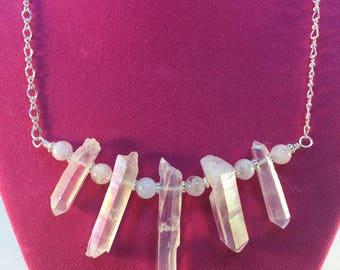 Crystal Spike Necklace, Quartz Dagger Points, Rainbow Rock Quartz, Rough Cut Spikes, Clear Quartz Stick, Cherry Quartz Beads, Rough Quartz